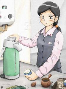 Office Lady making tea