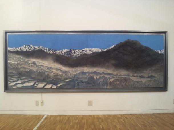 "Title ""Living in Yamagata""  4000×1600cm, Japanese Painting Hempen paper, mineral colors, silver foil, platinum foil. I draw landscape of Yamagata."